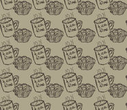 Hand drawn breakfast illustration. vector seamless pattern Stock Photo