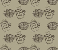 Hand drawn breakfast illustration. vector seamless pattern Royalty Free Stock Photography