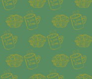Hand drawn breakfast illustration. vector seamless pattern Stock Photos