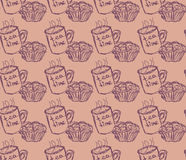 Hand drawn breakfast illustration. vector seamless pattern Royalty Free Stock Image