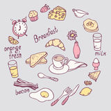 Hand drawn breakfast item set. Cute food illustration in vector Stock Photos