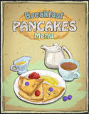 Hand drawn breakfast menu with pancakes, berries, cup of tea and honey Stock Images
