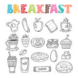 Hand drawn breakfast set. Collection of various sketches food an Stock Photography