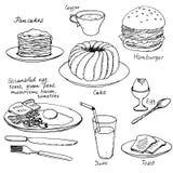 Hand drawn breakfast set Royalty Free Stock Image