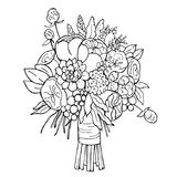 Hand drawn bridal bouquet. Vector sketch  illustration. Hand drawn bridal bouquet on white background.  Vector sketch  illustration Royalty Free Stock Photography