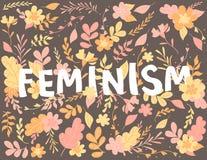 Hand-drawn brieven, tekstfeminisme, bloemen en installaties, kleurrijke illustratie royalty-vrije illustratie