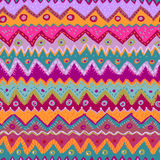 Hand drawn bright folkloric seamless pattern Stock Photo