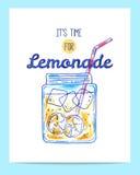 Hand drawn bright lemonade poster Stock Photo