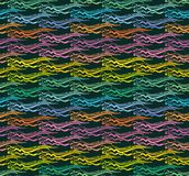 Hand drawn bright symmetrical waves in ethno style. Stock Image