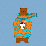 Hand drawn brown bear wearing scarf. Hand drawn cute brown bear wearing scarf Stock Illustration