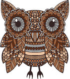 Hand drawn brown colorful vector doodle owl illustration Royalty Free Stock Photo