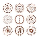 Hand drawn brown Henna circle pattern symbolic emblems design elements set. On white background stock illustration