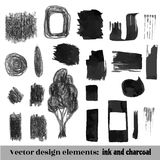 Hand Drawn brush Grunge background set. Ink and charcoal. Vector Illustration. Hand Drawn Grunge background set. Ink and charcoal. Vector Illustration Royalty Free Stock Image