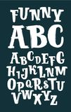 Hand drawn brush ink vector ABC letters set on black background. Hand drawn doodle comic font for your design. Vector cartoon illustration of hand drawn brush Vector Illustration