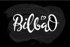 Hand drawn brush lettering for bilbao on black background royalty free illustration