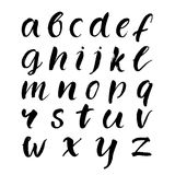 Hand drawn brush lowercase alphabet. Black vector. Letters  on white background Royalty Free Stock Photos