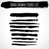 Hand drawn brush stripes set stock illustration
