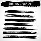 Hand drawn brush stripes set thin vector illustration