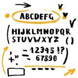 Hand drawn brush stroke font Stock Image
