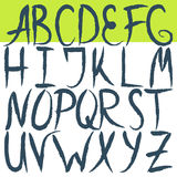 Hand drawn brushed letters alphabet. Grunge font Stock Photos