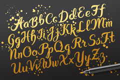 Hand drawn brushpen alphabet letters Royalty Free Stock Images
