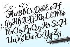 Hand drawn brushpen alphabet letters Stock Photo