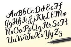 Hand drawn brushpen alphabet letters Stock Images