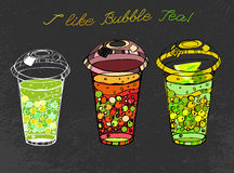 Hand drawn Bubble tea. I like bubble tea. Beautiful hand drawn image in modern artistic style on a dark gray textured background. Vector editable illustration in Stock Images