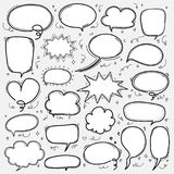 Hand Drawn Bubbles Set. Doodle Style Comic Balloon, Cloud Shaped Design Elements. Vector Illustration Royalty Free Illustration