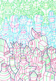 Hand drawn of buildings, forming a community Royalty Free Stock Photos