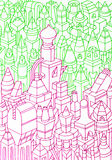 Hand drawn buildings/houses Stock Images
