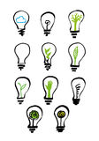Hand drawn bulbs with images inside, icons set Royalty Free Stock Photo