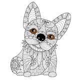 Hand drawn bulldog puppy for coloring book for adult