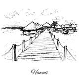 Hand drawn bungalows on Hawaii island Royalty Free Stock Photography