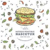 Hand drawn burger. Hamburger design template. Vector illustration junk food menu Stock Image