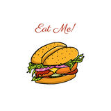 Hand drawn burger illustration Royalty Free Stock Image