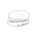 Hand drawn burger. VECTOR outline drawing. Fast food products. Black line. Royalty Free Stock Photo