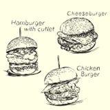 Hand drawn burgers, hamburger and cheeseburger. Royalty Free Stock Photo