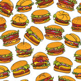 Hand drawn burgers pattern Royalty Free Stock Photography