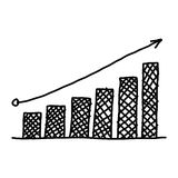 Hand drawn a business bar graph show to concept of data processi. Ng on the white background Royalty Free Stock Photo