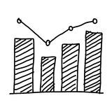 Hand drawn a business bar graph show to concept of data processi. Ng on the white background Royalty Free Stock Image