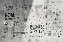 Hand drawn business concept and strategey. On texture wall background as concept Stock Image