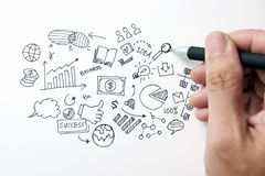 Business doodles icons set - hand drawn royalty free stock image