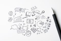 Business doodles icons set - hand drawn stock photo