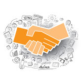 Hand-drawn business doodles set and handshake Icon Stock Image