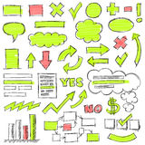 Hand Drawn Business Doodles Set. Hand drawn by pencil and highlighter business doodles. Optimized for one click color changes. EPS10 vector illustration Royalty Free Stock Photography