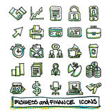 25 hand drawn business and finance icons collection. Vector format Stock Image