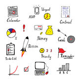 Hand drawn business and finance icons set. Set of business icons made in fun doodle way Stock Images