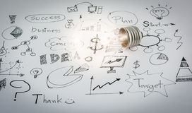 Hand drawn business icon ideas and Light bulb Royalty Free Stock Images