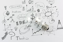 Hand drawn business icon ideas and Light bulb Royalty Free Stock Photography